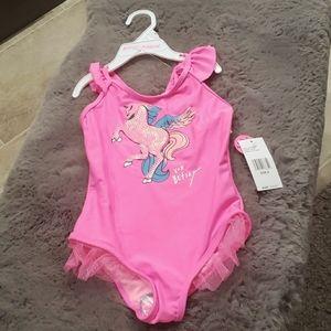 Betsey Johnson 1pc Swim pink Unicorn size 6 child
